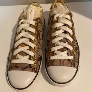Gold Coach Sneakers Size 6.5 Womens